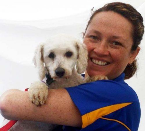 Lady holding dog, cute dog, woman holding dog, blue wheelers logo, dog grooming uniform, lady dog groomer, cute dogs, female groomer, female dog groomer, dog, dogs, cute puppy, pup