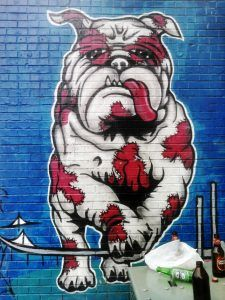 Makatron, Makatron street art, Makatron artist, Mike Maka, Footscray graffiti, graffiti, cute graffiti, dog graffiti, Melbourne, Melbourne street art, dog street art, Footscray bull dog, cute dog, Bulldog, cute Bulldog, Bulldog art, dog art, street art in Melbourne, visit Melbourne, street art graffiti, Bulldog art