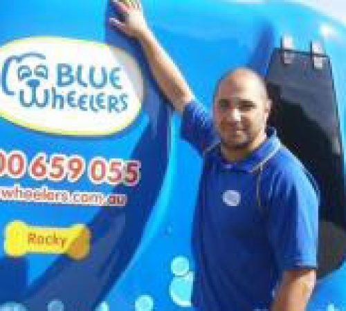 blue wheelers logo, dog grooming uniform, grooming salon, mobile grooming salon, blue dog, dog trailer, mobile dog grooming salon, male groomer, male dog groomer, dog groomer, mobile dog wash trailer, Blue Wheelers trailer