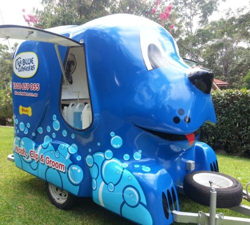 grooming salon, mobile grooming salon, blue dog, dog trailer, mobile dog grooming salon,mobile dog wash trailer,