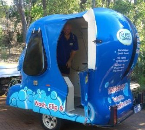 dog grooming uniform, grooming salon, mobile grooming salon, blue dog, dog trailer, mobile dog grooming salon, male groomer, dog groomer, mobile dog groomer, mobile dog wash trailer, Blue Wheelers mobile dog wash trailer, Blue Wheelers mobile dog grooming trailer, big blue dog